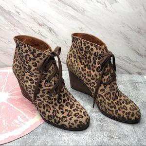 Lucky brand Swayze wedge bootie leopard print 7.5